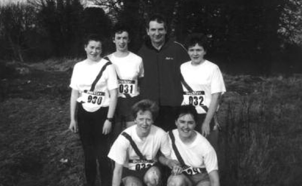 Back row- Kathleen McFadden, Eilish McGowan, Eamon Giles, Nancy McNamee Front row- Rose Gavaghan and Bridie Trearty who competed in the National Cross County Championships in Limerick.