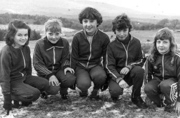 Cranford athletes pictured after cross country training in Cranford Park early 80's. Left to right: Siobhan Giles,Tanya Boyle, Brenda Duffy, Marie Sweeney, Marguritte Hagan.