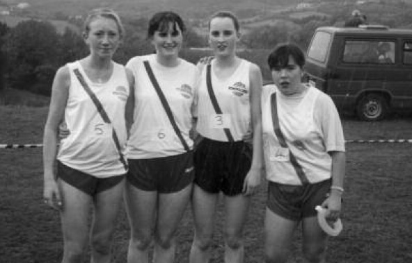 Louise Doherty, Siobhan Monaghan, Orla Monaghan and Jennifer Hunter who won the Ulster Cross County Championships in Cranford Park 1997