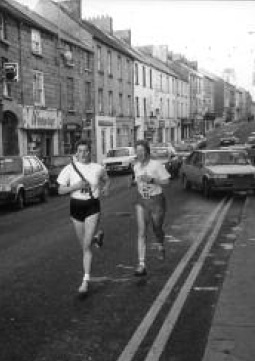 Martina Sandilands competing in Monaghan road relay race 1983.