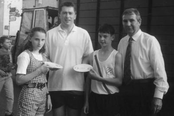 Orla Monaghan & Tony O'Donnell being presented with their achievement awards by Tommy Ryan in 1997 also pictured Eamon Giles