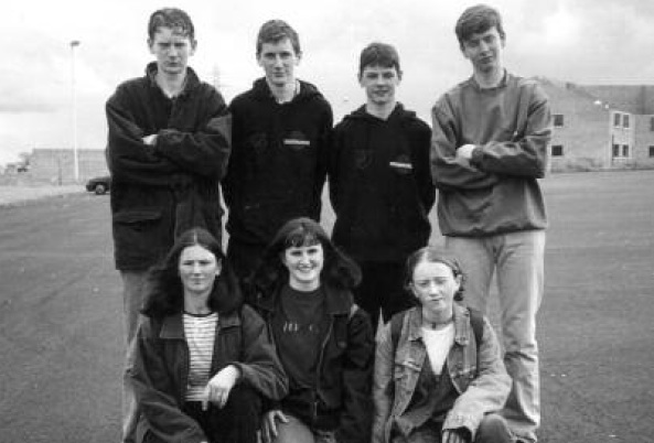Pictured at the Ulster track and field 1996 are Turlough Giles, Brendan Giles, Tony O'Donnell & John McGrenra. Front L-R- Paula Cullen, Siobhan Monaghan and Louise Doherty.