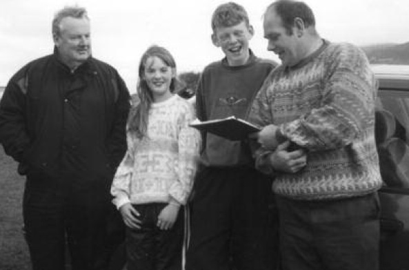 Roy McElhinney, Lorraine McElhinney, Declan Duffy and Victor Hunter checking the results of the time trials in Cranford Park 1997.