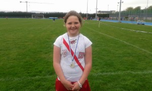 Aoife Giles winner of the u/11 turbo Javlin