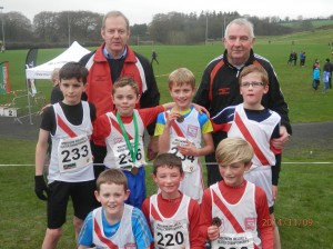 Boys u/11 Team who came 2nd Liam,Oisin,Max,Connor,Johnny,Oran and Cian with coaches Ernie and Eamon