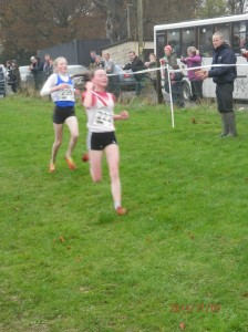 Molly Trearty coming into the finish in 2nd place in the girls u/13 Girls.