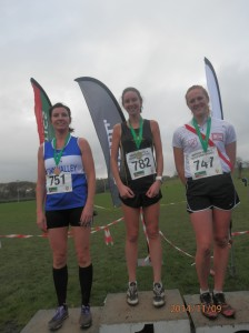 Lucy Backus recieving her silver medal for the Ulster Novice.