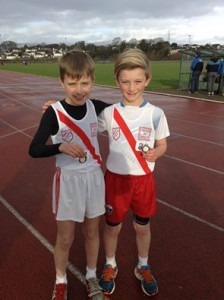 U11 boys Max Roarty who won gold medals in the 60 metre sprint, 500 metres and long jump and a bronze medal in the turbo javelin and Cian McMenamim who won bronze in the 60 metres and silver medals in the 500 metres, long jump and turbo javelin.