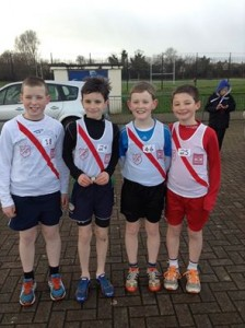 U13 boys Liam Donnelly who won silver medals in the 60 metre and 600 metre races and bronze in the long jump, Oran McMenamim who won a bronze medal in the 600 metres and 6th in the long jump, Johnny Trearty who came 4th in 600 metres, joint 5th with Oran in the 60 metres and 5th in the long jump and Killian Browne who won a silver medal in the shot put and come 4th in the long jump.