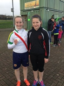 U13 girls Marcella Dolan who won gold in the 60 metre sprint and silver medals in the 600 metres and long jump and Aoife Giles who won gold in the shot put and bronze medals in the 600 metres and long jump.