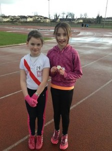 U11 girls Nazara McFadden who won Gold medals in 60 metres and 500 metres and a silver in the turbo javelin and Caoimhe Browne who won a silver medal in the long jump and bronze in the turbo javelin.