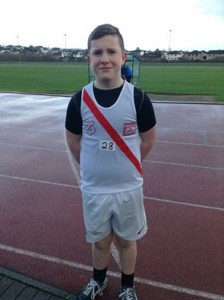 U15 boy Barry Donnelly who won gold medals in the shot put and long jump.