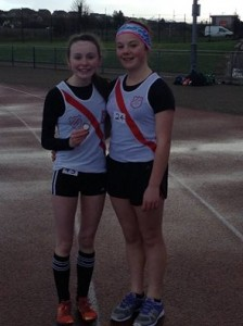 U15 girls Molly Trearty who won bronze in the 80 metres, gold in the 800 metres and silver in the long jump and Rionach Giles who came 4th in the 80 metres and won silver in the 800 metres.