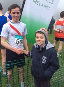 Eoin being congratulated by Oisin.