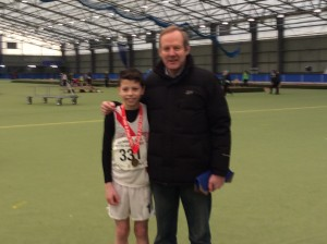 Dylan Dorrian who came 3rd in the U/14 hurdles with Ernie..
