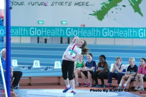 Aoife Giles in action in the shot putt.