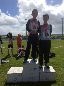 Oisin Kelly and Liam Donnelly 1st and 2nd in the long jump.