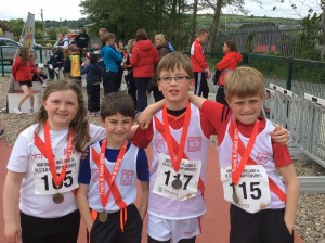 Our medals winners Orla,Caolan,Connor,and Max.
