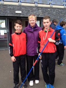 Dylan Dorrian and Eoin Moore with Rose Gavaghan.