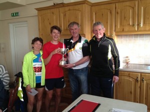 Well done to Conal McCambridge from North Belfast Harriers who won the Tommy McBride Memorial Cup today and to his mum Ita McCambridge who was the first senior woman pictured here with Noel McBride and Myles Gallagher