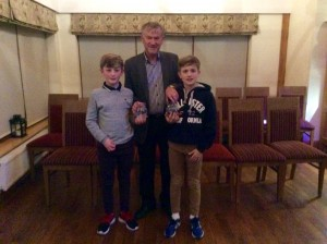 Cian and Max with Noel McBride.