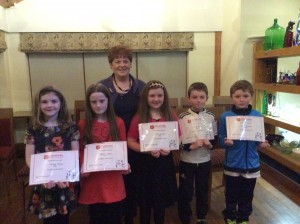 Clodagh,Blathnaidh,Orla, Michael and Aidan with Gearldine Boyce.