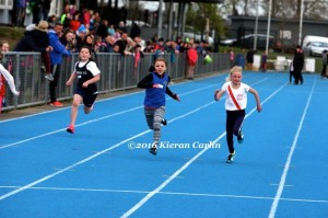Miah Fletcher on her way to getting silver in the U/10 60m.