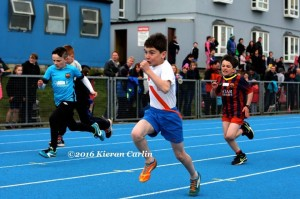 Caolan MC Fadden on his way to victory in the boys U/10.
