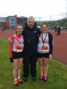 Molly and Aoife with Eamon Giles.