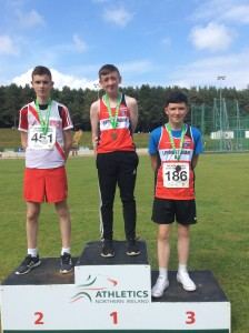 Eoin Moore recieving his silver medal for javelin.