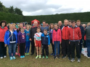 Athletes coaches family and friends at Tullamore.