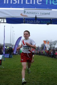 Oisin on his way to winning the Boys U/13 Cross Country Nationals Championships.