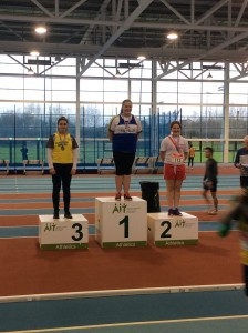 Aoife Giles recieving her silver medal for the Girls U/14 shot.