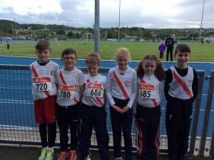 Michael Moore Ryan McMenamin Killian Caldwell Miah Fletcher Karen Neely and Caolan McFadden all at the children's Games in FV