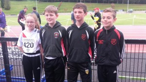 Caitlin o Hara Johnny Trearty Oran MC Menamin and Oisin Kelly before their 1500m