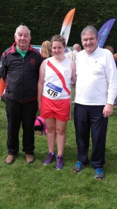 Aoife Giles with coachs Eamon Giles and Joe Boyce.