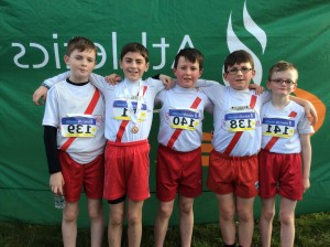 Cranford AC u 11 team Michael Caolan Dean Ryan and Diarmuid