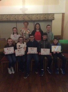 Cranford AC Athletes receiving their certificates from Rose Gavaghan.